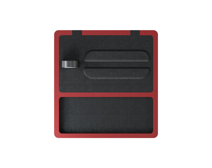 NYTSTND TRIO TRAY Black leather top, Red base, MagSafe wireless charger, 5-coil full surface charging area