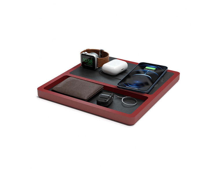 NYTSTND TRIO TRAY Black leather top Red wood base, MagSafe charger, Angle view Watch, AirPods, iPhone