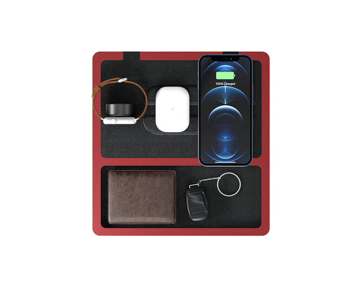 NYTSTND TRIO TRAY Black Red, MagSafe Wireless Charger, Top view with devices