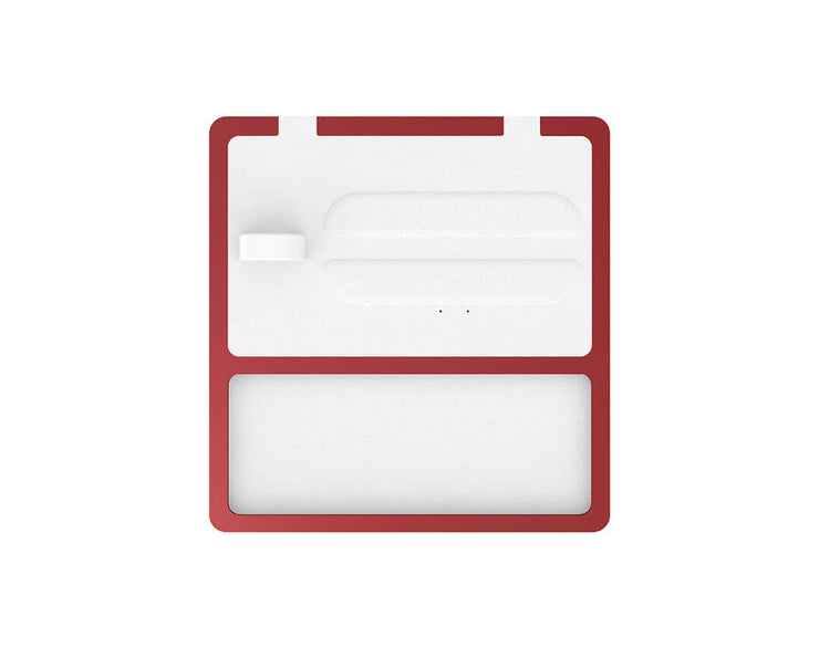 NYTSTND TRIO TRAY White leather top, Red base, MagSafe wireless charger, 5-coil full surface charging area
