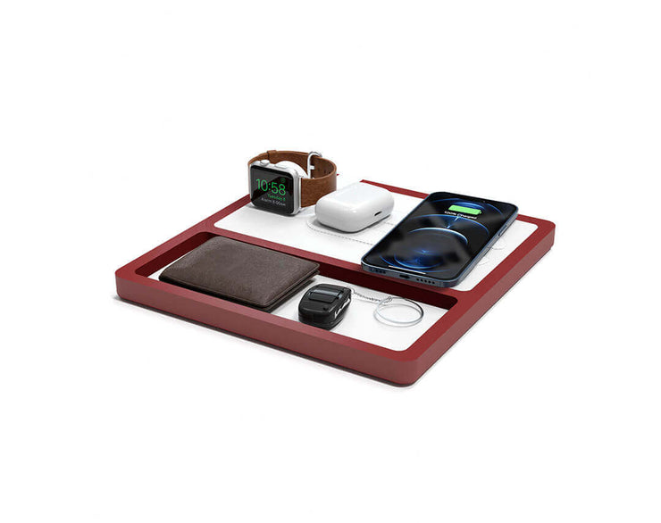 NYTSTND TRIO TRAY White leather top Red wood base, MagSafe charger, Angle view Watch, AirPods, iPhone