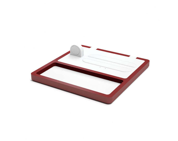 NYTSTND TRIO TRAY White leather top Red wood base, MagSafe charger, Full surface charging area, Angle view no devices