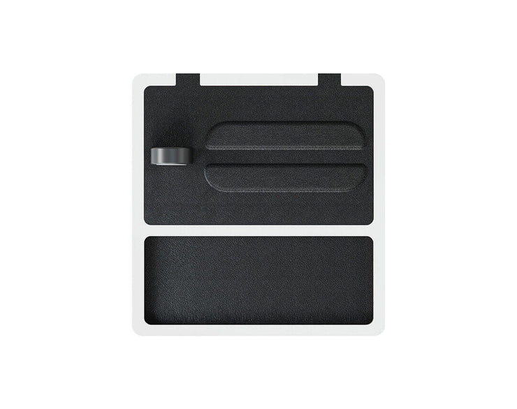 NYTSTND TRIO TRAY Black leather top, White base, MagSafe wireless charger, 5-coil full surface charging area
