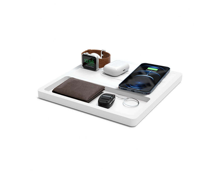 NYTSTND TRIO TRAY White leather top White wood base, MagSafe charger, Angle view Watch, AirPods, iPhone