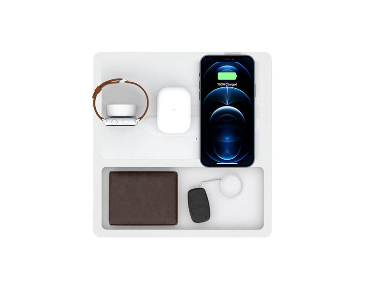 NYTSTND TRIO TRAY White top, White base, MagSafe Wireless Charger, Top view with devices