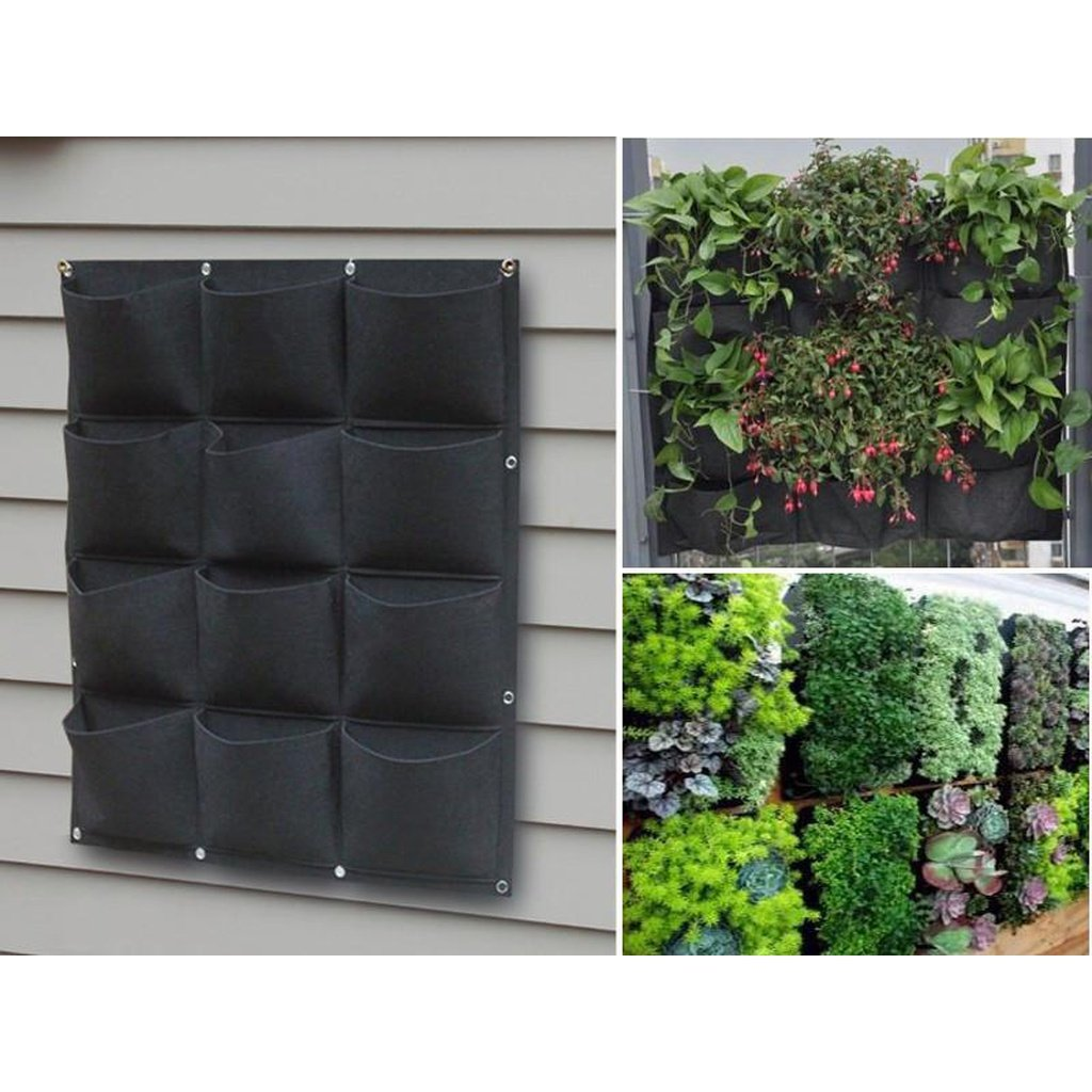 Vertical Living Wall ... Home - Outdoors - 12 Pocket Outdoor Vertical Living Wall Planter ...