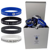 "25 SETS (100 pieces) ""TYPE 1 DIABETIC INSULIN DEPENDENT"" Medical Alert ID Silicone Bracelet Wristbands ADULT SIZE (8 Inches)"