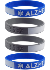 Alzheimers Medical Alert Bracelet ID - with Writeable Area for Emergency Contact Information Silicone Bracelet Wristbands 4 Pack