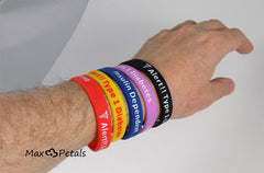"""Diabetes Type 1 Insulin Dependent"" Silicone Bracelet Wristbands - CASE LOT 27 BOXES of 5 Packs"