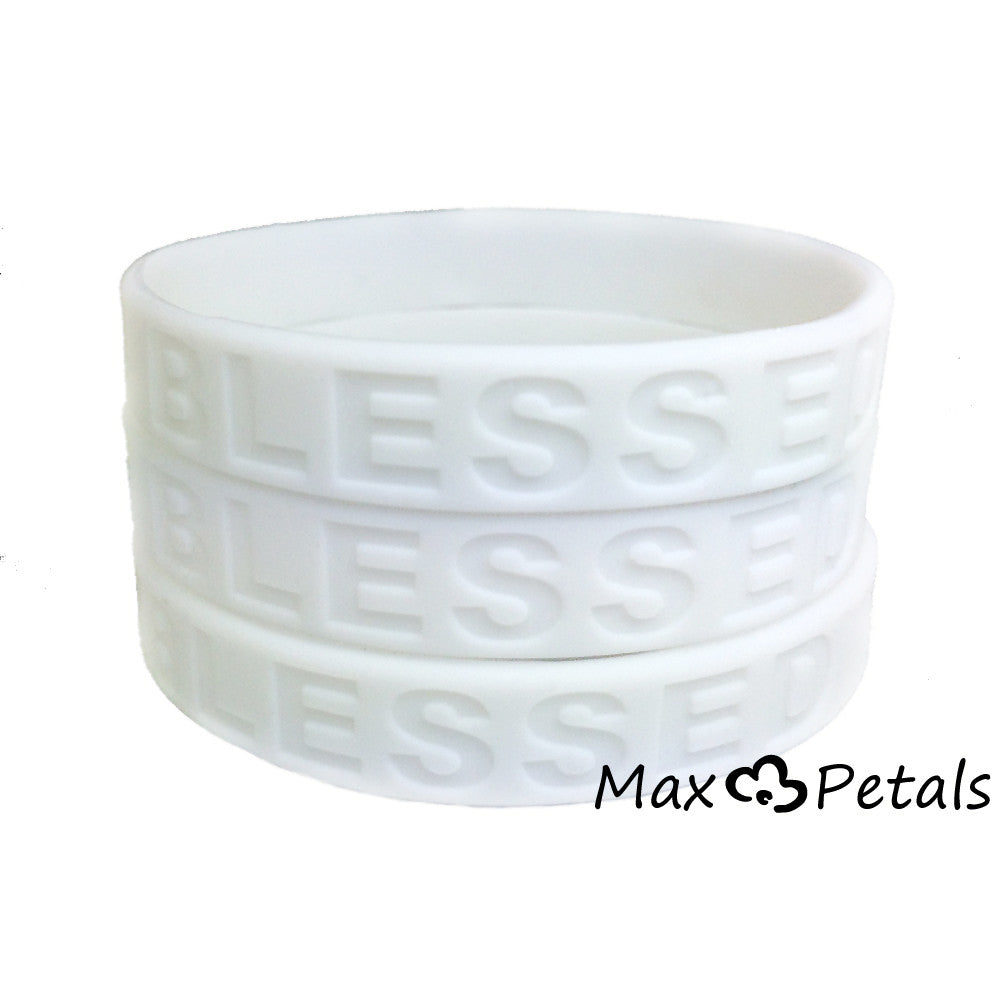 3 Pack - BLESSED Religious Symbol Silicone Bracelet Wristbands