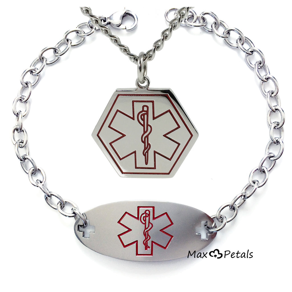Max Petals - Type 1 Diabetes Medical Alert ID Gift Set Bracelet and Matching Necklace