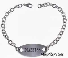 "Diabetes Medical Alert ID Identification Bracelet with 9"" Chain"
