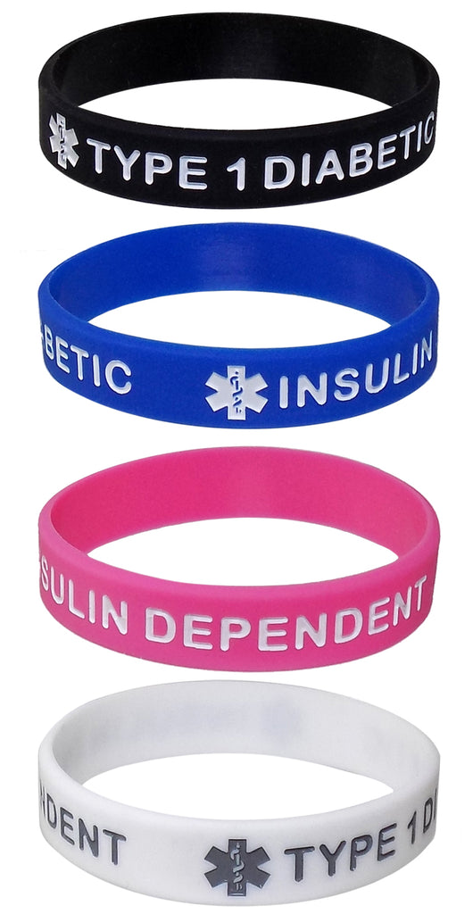 """TYPE 1 DIABETIC"" Kids Sized Medical Alert ID Silicone Bracelet Wristbands 4 Pack"