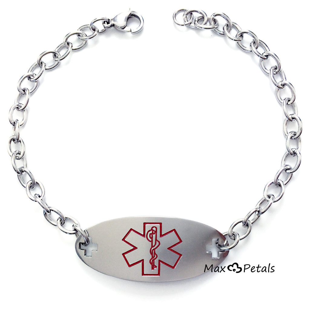 "Type 1 Diabetes Medical Alert ID Identification Bracelet with 9"" Chain"