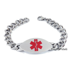 "Xarelto Medical Alert ID Men's Bracelet Heavy Stainless Steel with 8"" Chain"