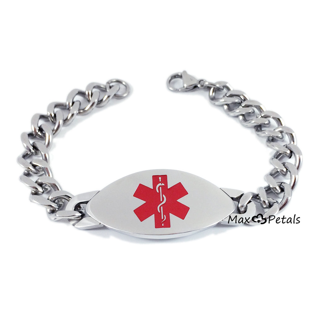 "Max Petals - BLOOD THINNER Medical Alert ID Stainless Steel Men's Bracelet with 8"" Chain"