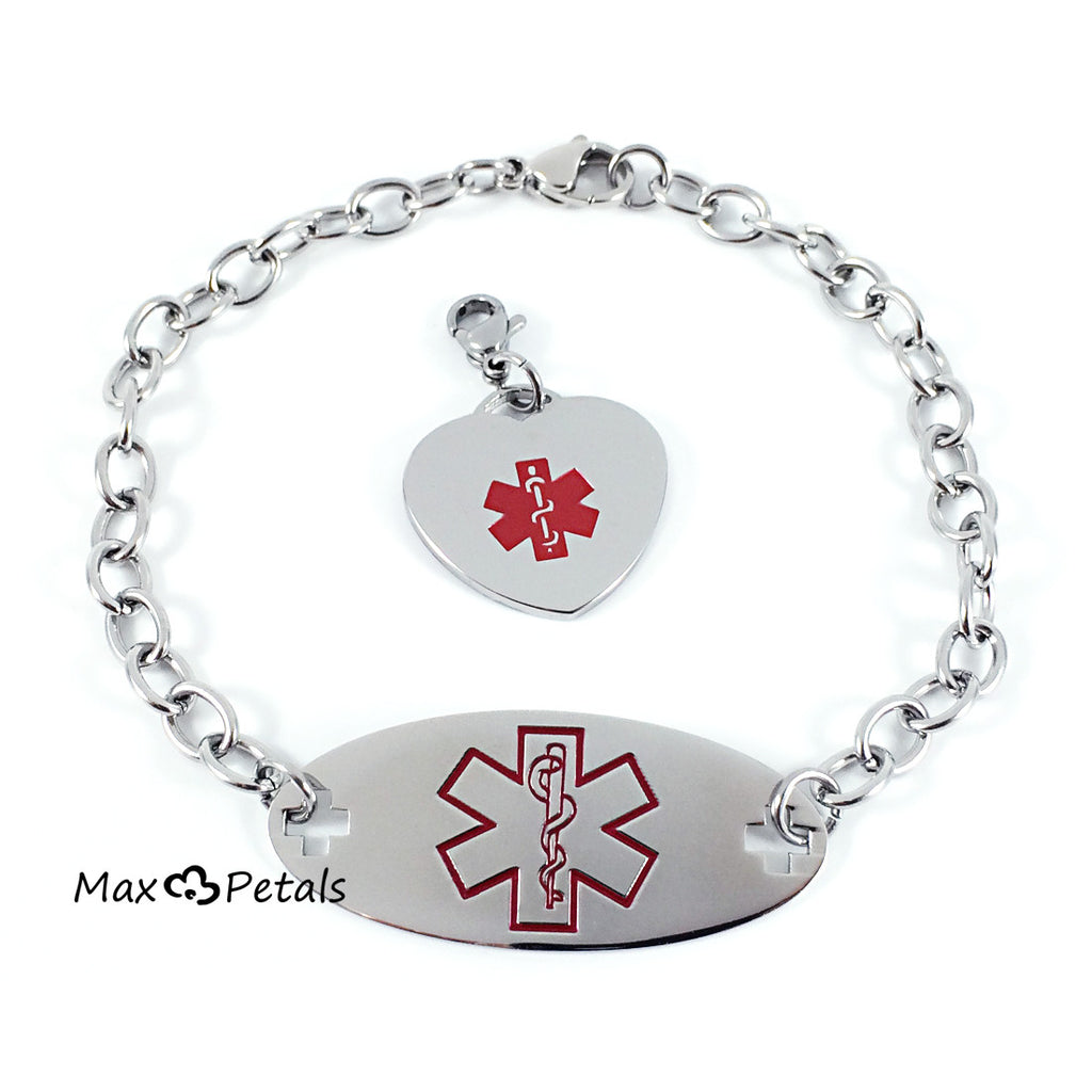 Max Petals - Diabetes Medical Alert ID Gift Set Bracelet and Matching Pendant with Lobster Clasp