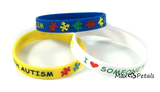 """I Love Someone with Autism"" Silicone Bracelets Blue, Yellow and White Adult Size (3 Pack)"