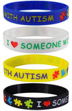 """I Love Someone with Autism"" Silicone Bracelets Blue, Yellow, Black and White Adult Size (4 Pack)"
