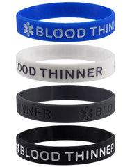 """BLOOD THINNER"" Medical Alert ID Silicone Bracelet Wristbands 4 Pack"