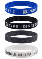 """TYPE 1 DIABETIC"" Medical Alert ID Silicone Bracelet Wristbands 4 Pack"