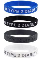 """TYPE 2 DIABETIC"" Medical Alert ID Silicone Bracelet Wristbands 4 Pack Black, Blue, Grey and White"