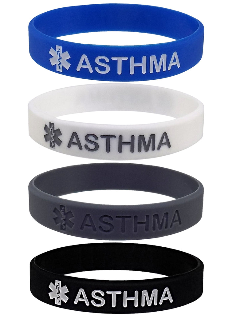 """ASTHMA"" Medical Alert ID Silicone Bracelet Wristbands 4 Pack"