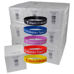 """Diabetes Type 2"" Silicone Bracelet Wristbands - CASE LOT 27 BOXES of 5 Packs"