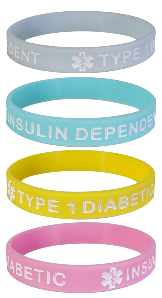 TYPE 1 DIABETIC INSULIN DEPENDENT Medical Alert ID Silicone Bracelet Wristbands Pastels 4 Pack