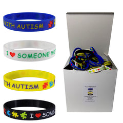 "25 SETS (100 pieces) ""I LOVE SOMEONE WITH AUTISM"" Medical Alert ID Silicone Bracelet Wristbands ADULT SIZE (8 Inches)"