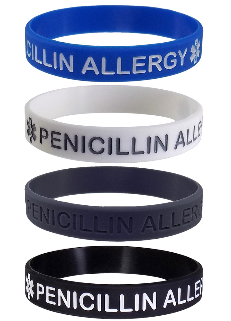 """PENICILLIN ALLERGY"" Medical Alert ID Silicone Bracelet Wristbands 4 Pack"