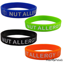 """NUT ALLERGY"" Silicone Wristbands - Kids Size (4 Pack)"