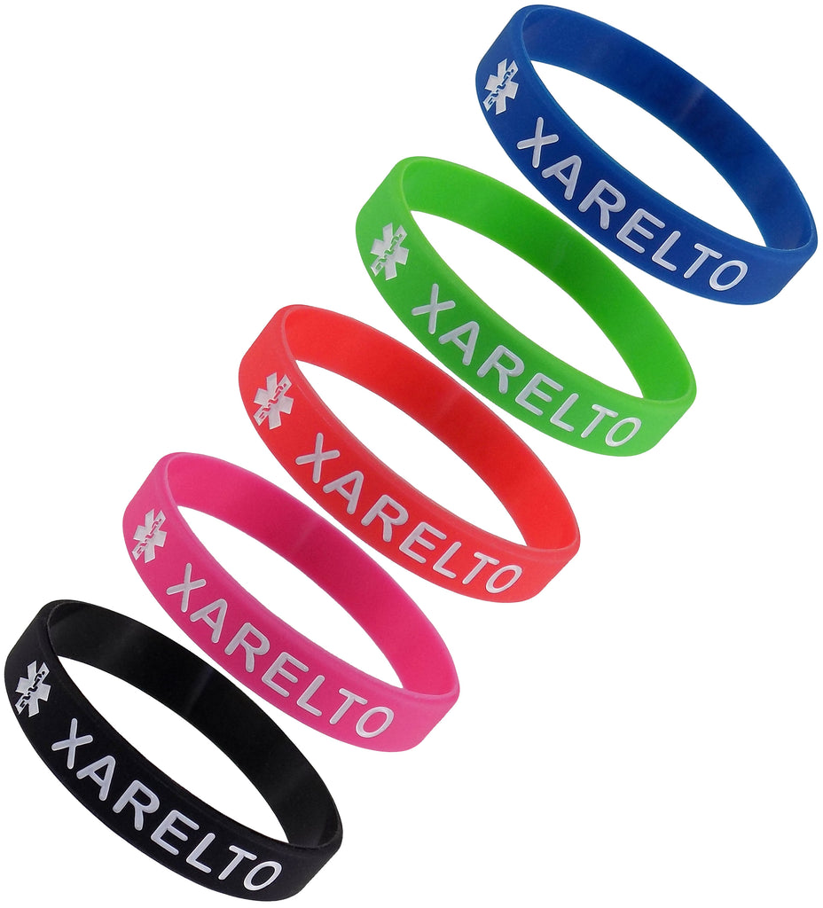 "5 Pack - ""XARELTO"" Silicone Bracelet Wristbands"