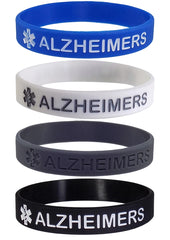 """ALZHEIMERS"" Medical Alert ID Silicone Bracelet Wristbands 4 Pack"