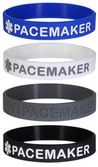 """PACEMAKER"" Medical Alert ID Silicone Bracelet Wristbands 4 Pack"