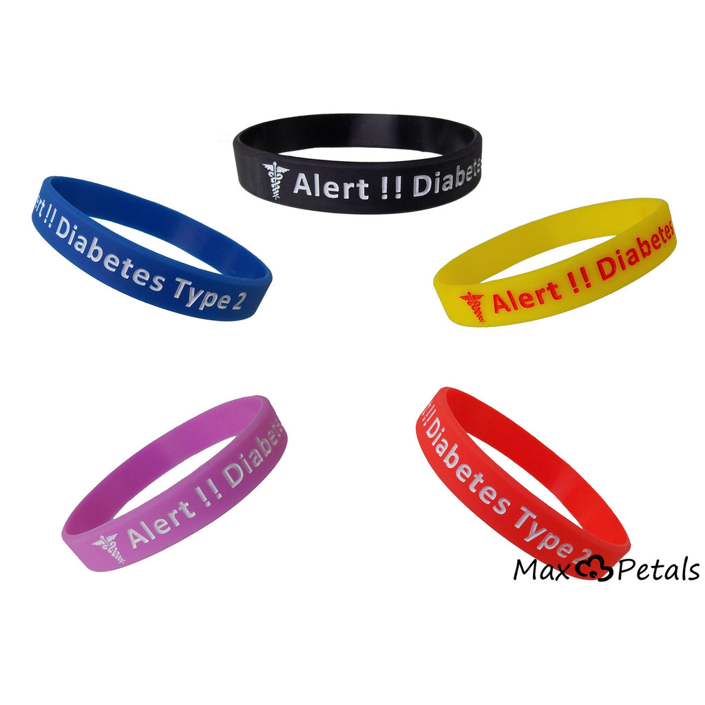 "5 Pack - ""Diabetes Type 2"" Silicone Bracelet Wristbands"