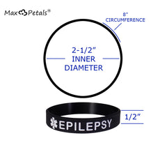 """EPILEPSY"" Medical Alert ID Silicone Bracelet Wristbands 4 Pack"