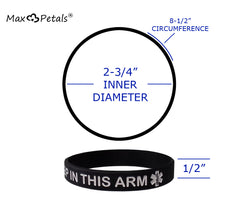 "eXtra Large 4 PACK - Lymphedema Alert ""NO NEEDLES OR BP THIS ARM"" Wristbands"