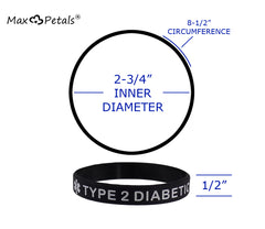 "eXtra Large ""TYPE 2 DIABETIC"" Medical Alert ID Silicone Bracelet Wristbands 4 Pack Black, Blue, Grey and White"