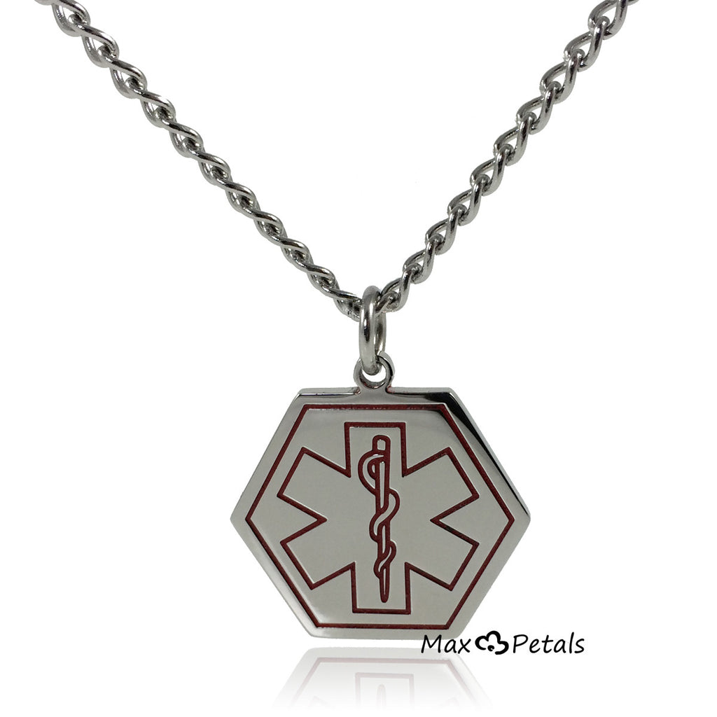 "Type 2 Diabetes Medical Alert ID Stainless Steel Pendant Necklace with 26"" Chain"