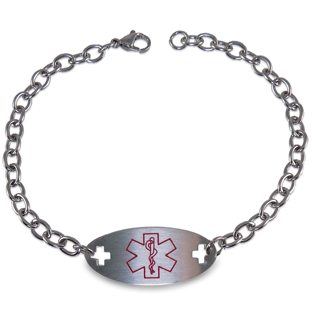 Blood Thinner Medical Alert ID Identification Bracelet with 9 Inch Chain