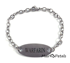 Warfarin Medical Alert ID Stainless Steel Identification Bracelet with 9 Inch Chain