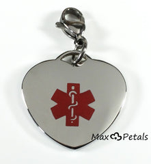 Diabetes Medical Alert ID Stainless Steel Heart Shaped Charm Pendant with Lobster Clasp
