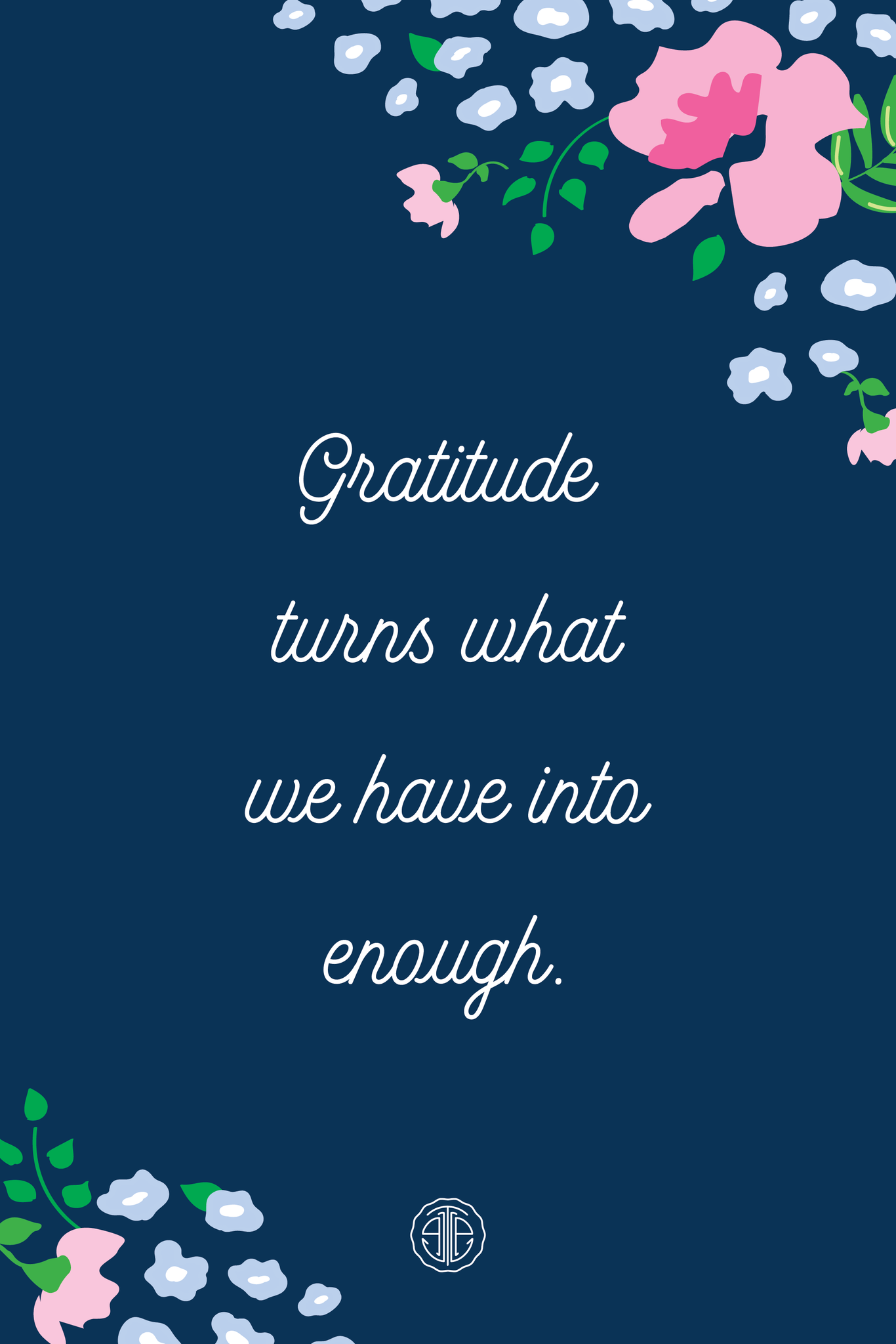 gratitude quote with floral background