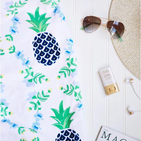 personalized beach towel pineapple print