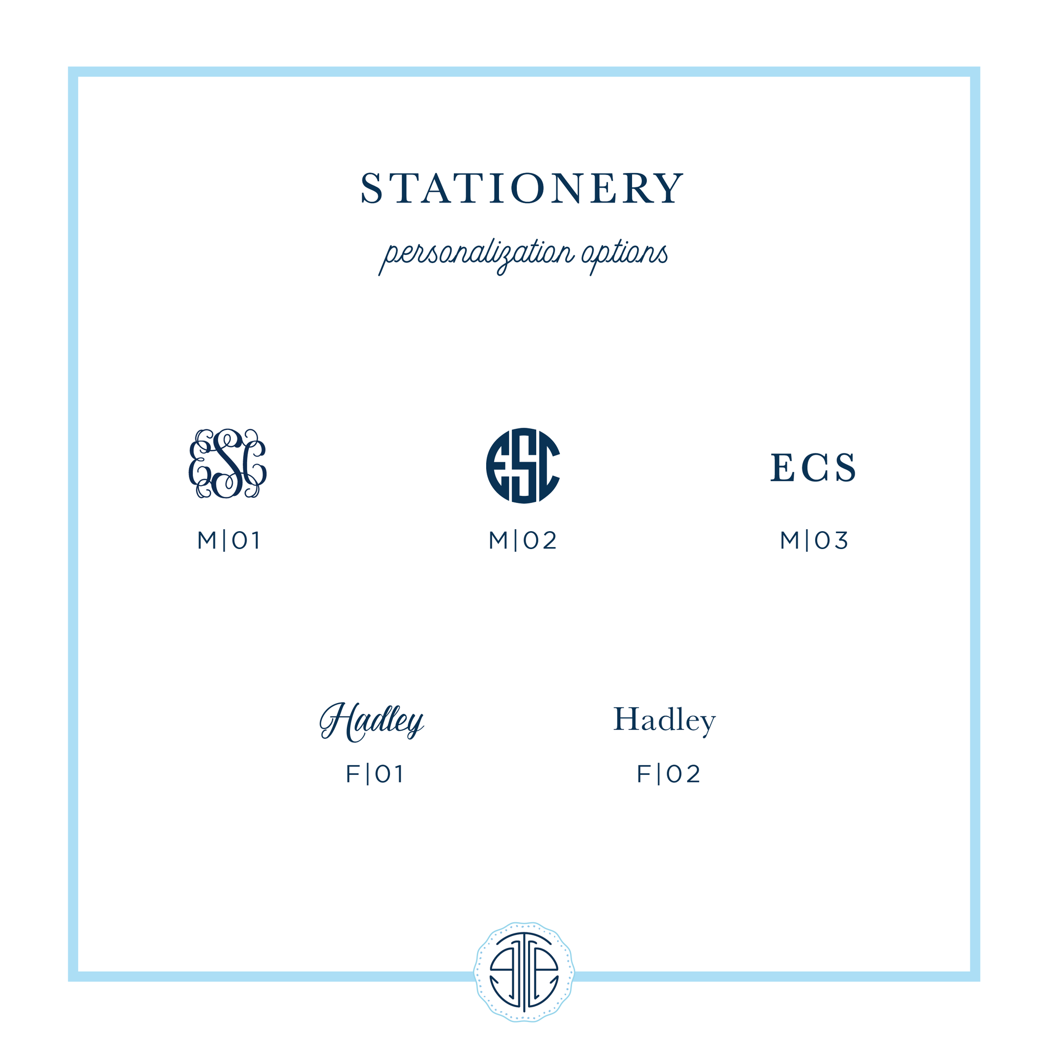 stationery personalization options