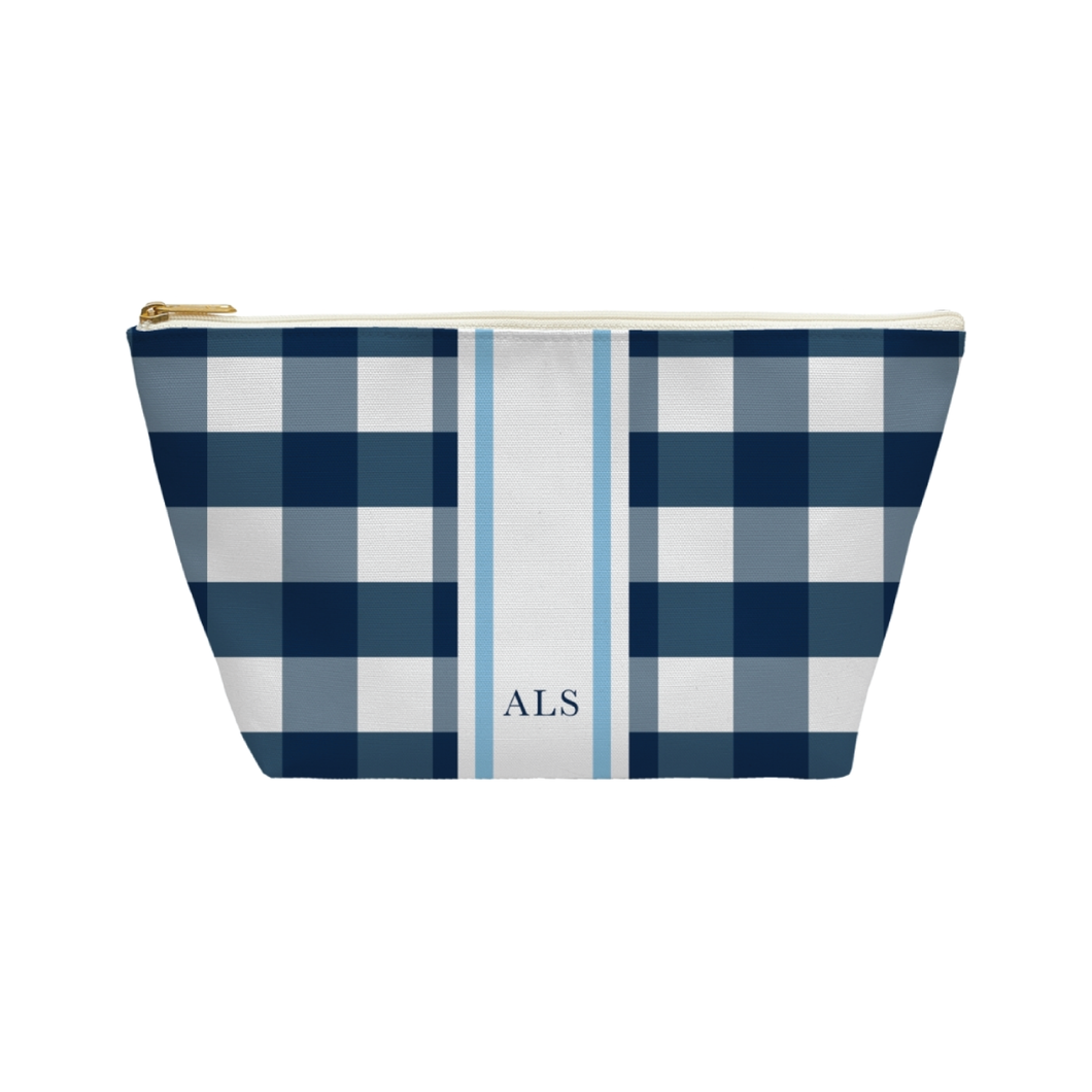 Navy Gingham + Stripe Cosmetic Pouch - The Little Palm