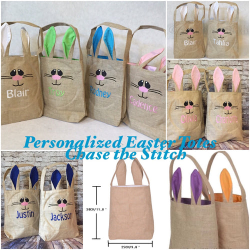 Easter Burlap Personalized Totes