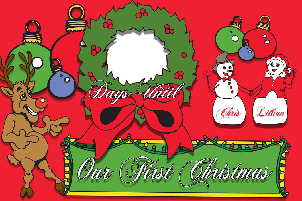 Customizable Our First Christmas Countdown to Christmas WipeBoard