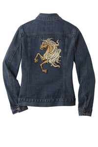 Customizable Embroidered Horse Denim Jacket - Mens